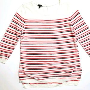 Talbots Petite White Red 3/4 Striped Sweater